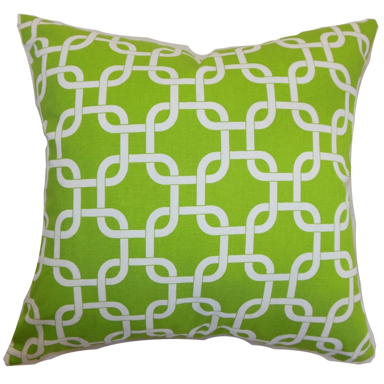 Qishn geometric chartreuse feather filled throw pillow inches x
