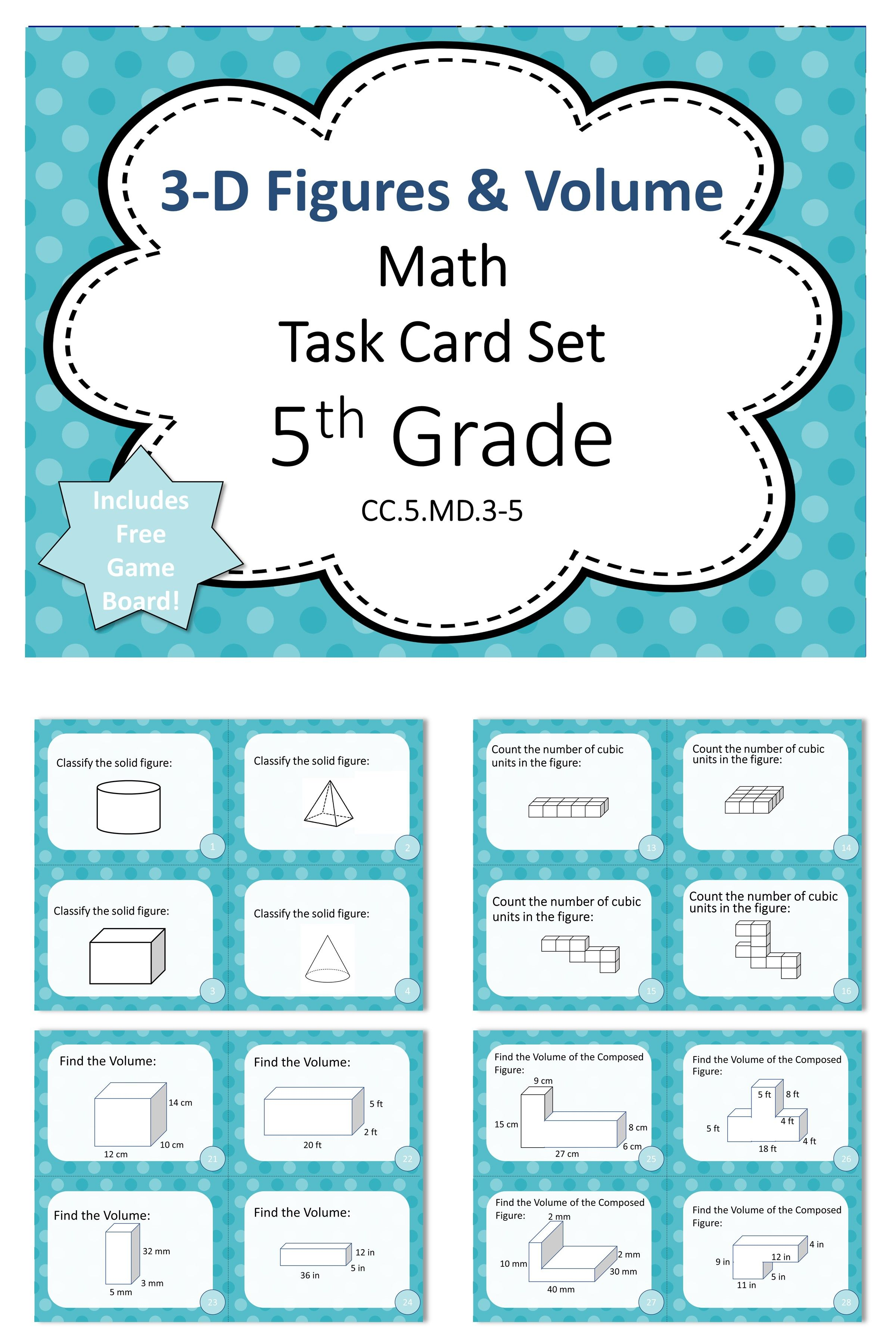 5th Grade 3d Figures And Volume Math Task Cards