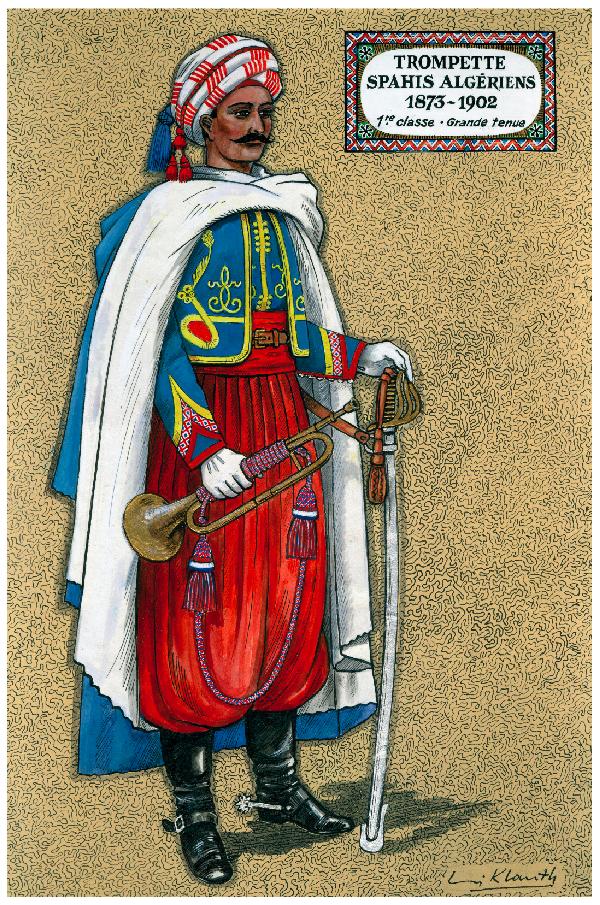Trumpeter Spahi Algeriens 1873-1902 In Grande Tenue
