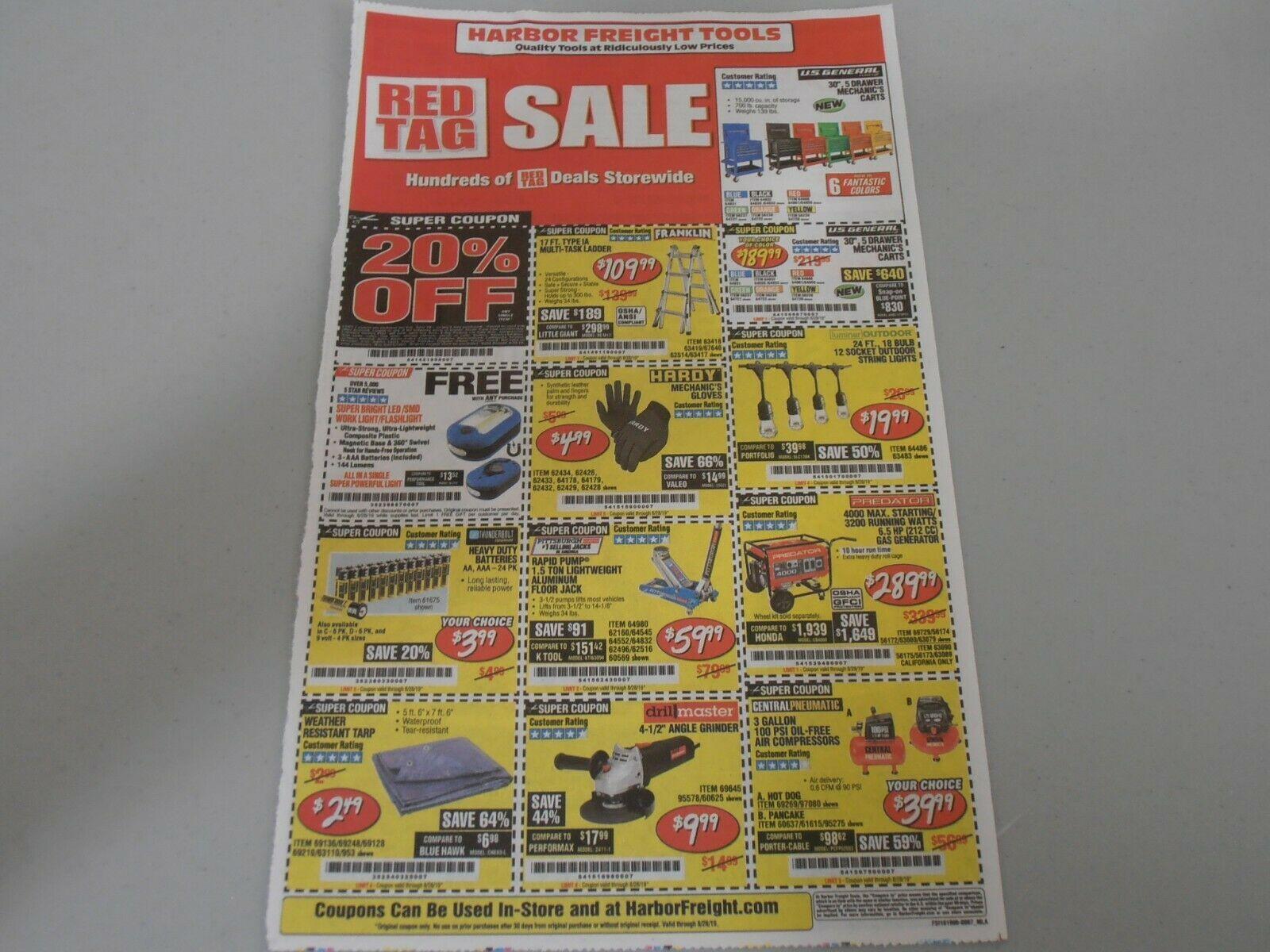 Harbor Freight coupon sheet exp 8/28 gas generator 30 5