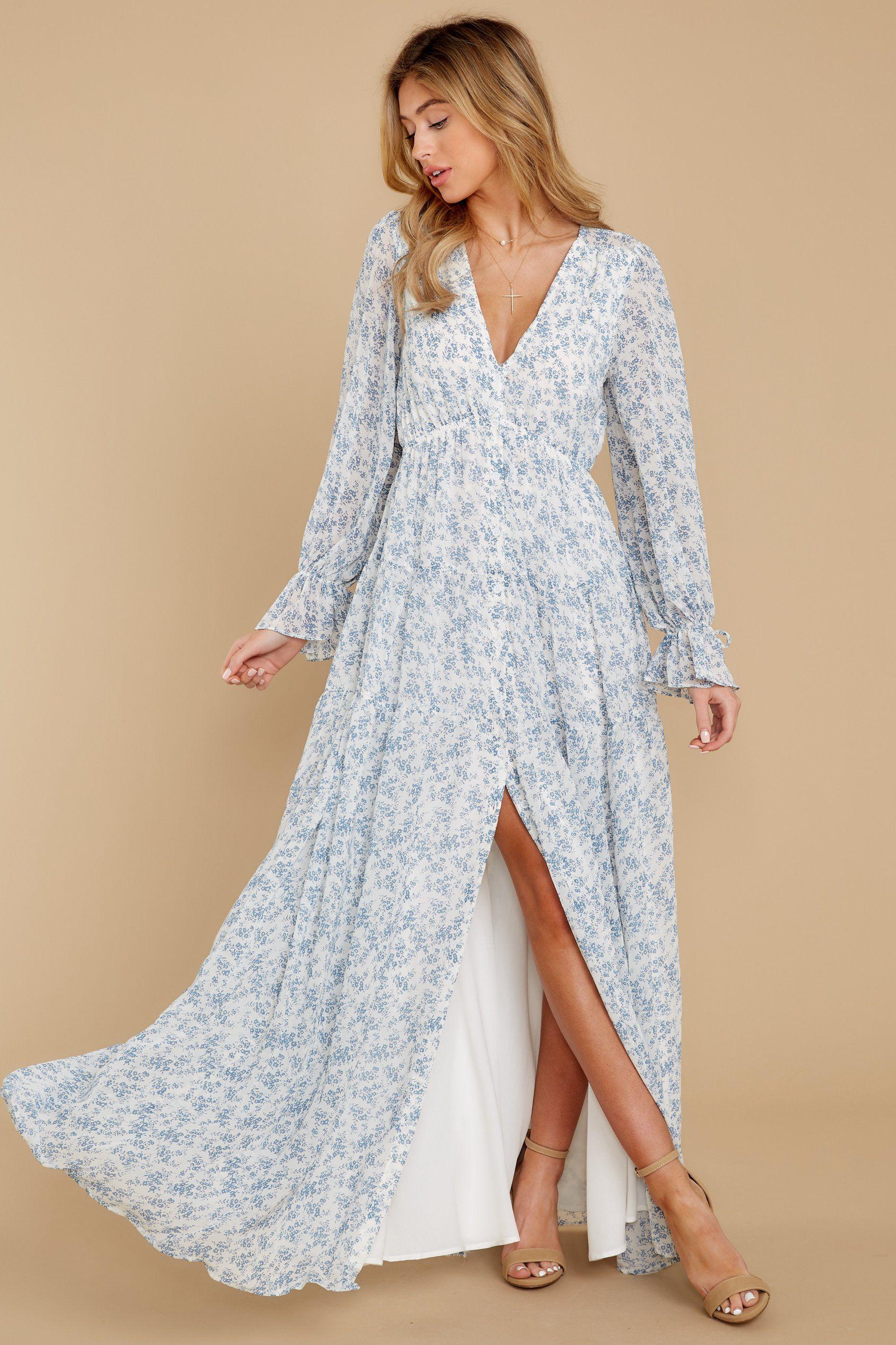 Afternoon Calm Light Blue Floral Print Maxi Dress Backorder June Maxi Dress Printed Maxi Dress Long Sleeve Maxi Dress [ 2739 x 1826 Pixel ]