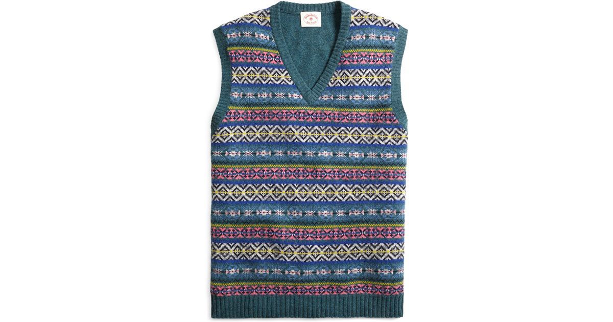 Brooks brothers Fair Isle Sweater Vest in Green for Men | Lyst ...