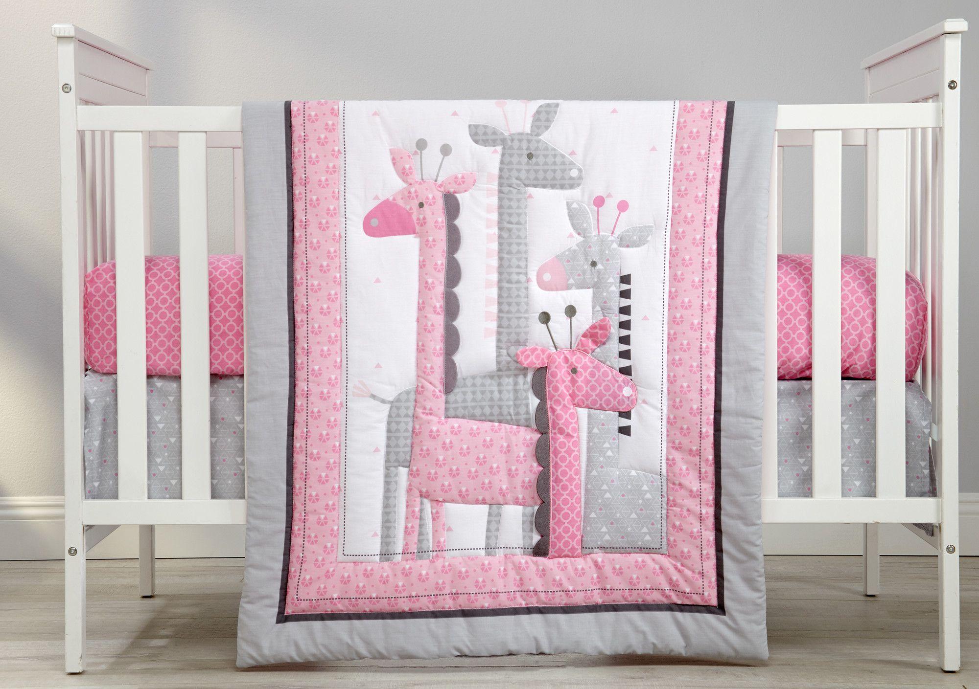 Baby Crib Bedding Set for Girls 3 Pieces Pink Giraffe Elephant Originals Soft Toddler Nursery Bedding Sets with Crib Comforter Fitted Crib Sheet Crib Skirt for Standard Size Crib