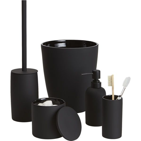 Rubber Coated Black Stoneware Bath Accessories