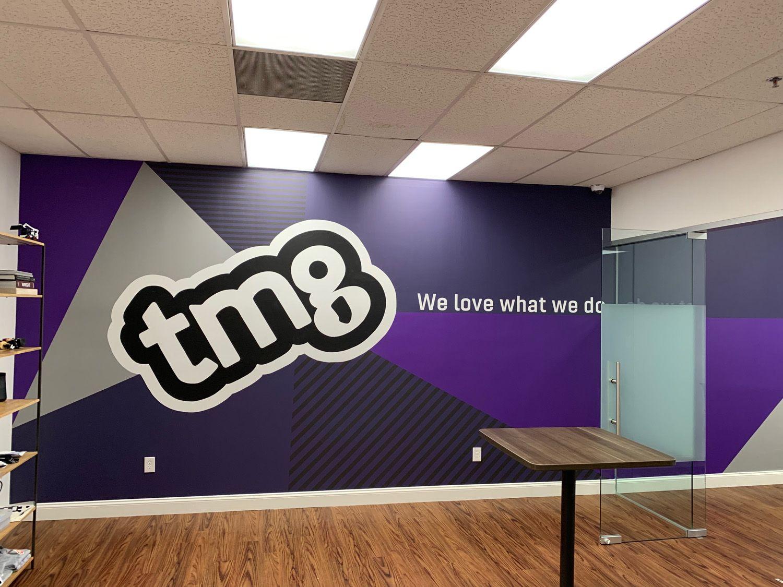 New Jersey Tech Office Hand Painted Mural Logo In 2020 Office Mural Mural Mural Painting
