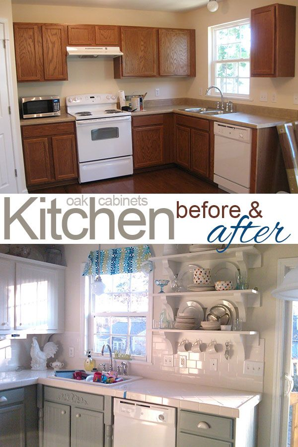 Painting Oak Cabinets White and Gray #oak_cabinets #white_cabinets