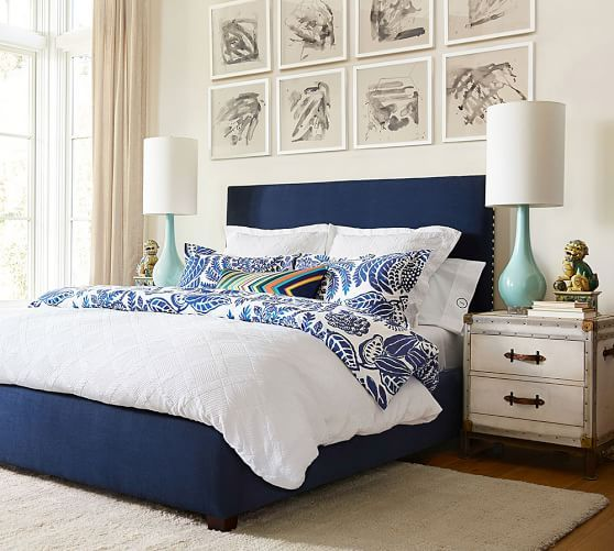 Ludlow Bedside Table | Pottery Barn Blue Bedding, Blue Bedroom, Bedroom  Wall, Bedroom