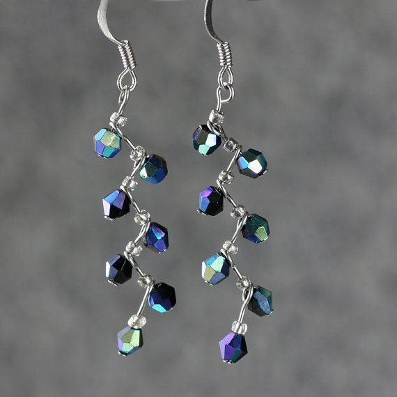 2 lengths sterling silver 6mm Czech glass earrings In gift box 38 col options