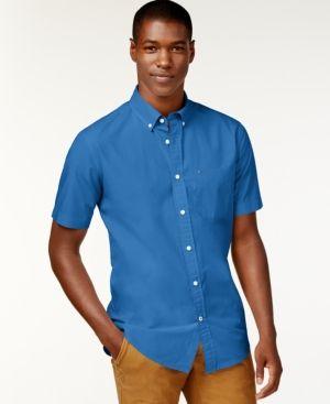 294b771fb Tommy Hilfiger Men's Big & Tall Maxwell Short-Sleeve Button-Down Shirt -  Blue