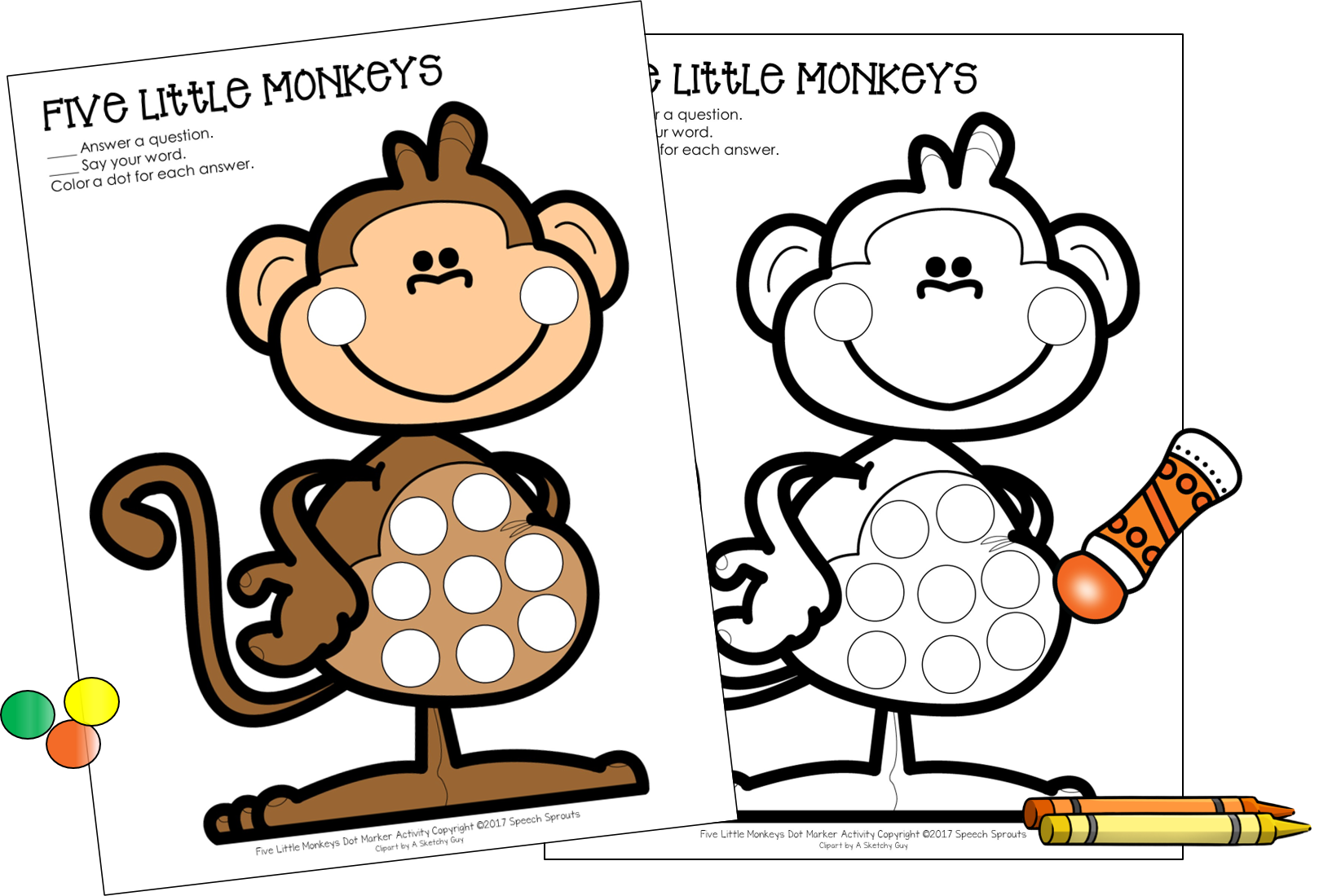 Download This Free Five Little Monkeys Dot Marker Activity