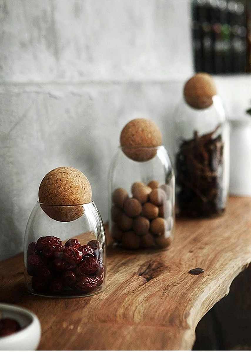 Coffee.. Jar for Sugar Food Storage Glass Bottle with Airtight Cork Lid Snack