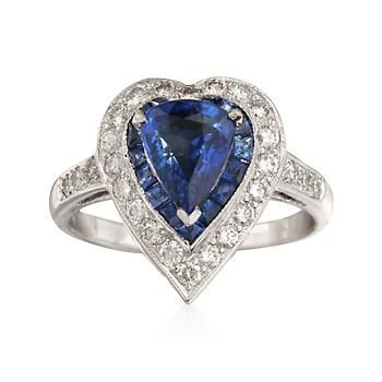 6542a4524e139 C. 1990 Vintage Sapphire and Diamond Heart Ring in 18kt White Gold ...