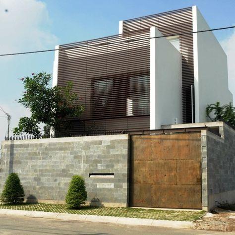 Haus Moderne Architektur Beton Holz Glas Fassade Sichtschutz