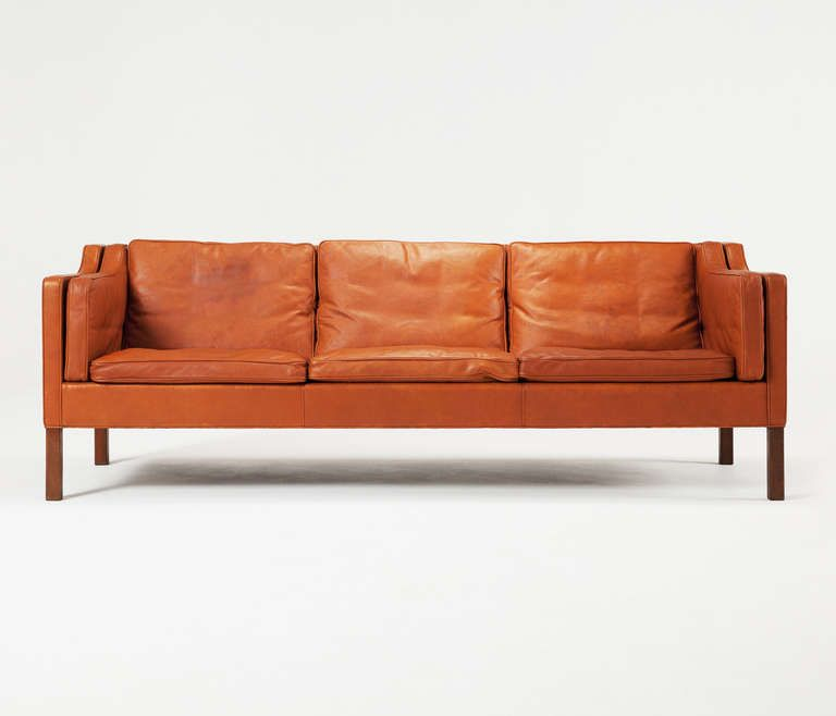 Cognac leather sofa by Borge Mogensen   From a unique collection of antique and modern sofas at http://www.1stdibs.com/furniture/seating/sofas/