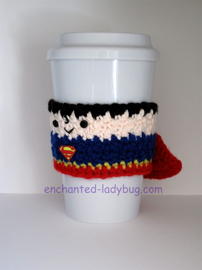 Free Crochet Superman Coffee Cup Cozy Pattern By The Enchanted