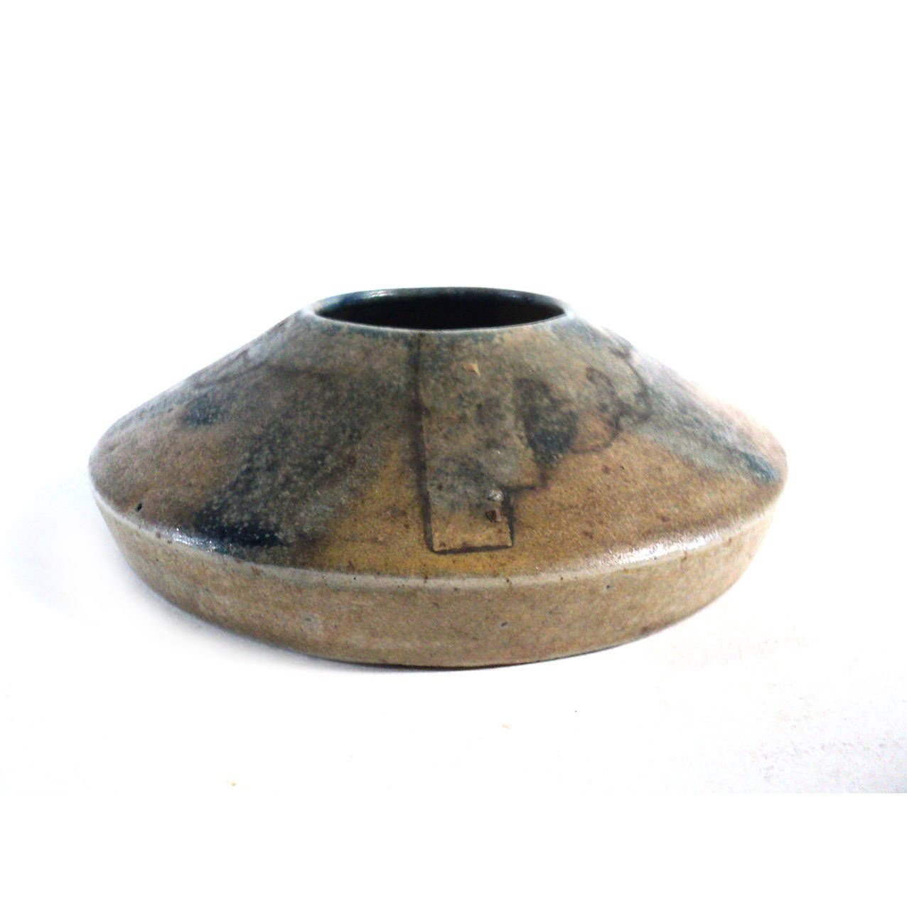 French Flame Glazed Miniature Vase, L'Artisan Pratique, Small Beige Art Deco Stoneware Pot, Candleholder Paper Weight