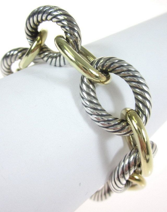 "DAVID YURMAN Sterling Silver 18 Karat Yellow Gold Large 8"" Chain Link Bracelet at www.ShopLindasStuff.com"