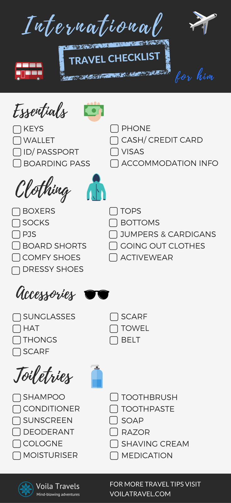 Travel Checklist For Men Remember What To Pack For Your Next Overseas Trip With The Ultimate Packing Tips For Travel Travel Checklist Travel Packing Checklist