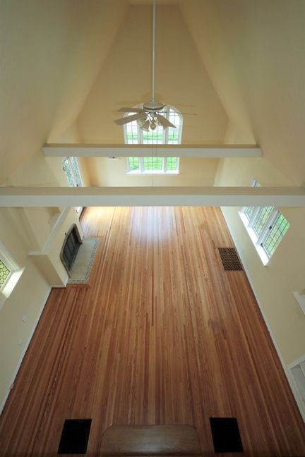 """Picture from the balcony showing a classic narrow (1 1/2"""" wide) select red oak floor. This floor was in a classic Portland home in the Alameda neighborhood."""