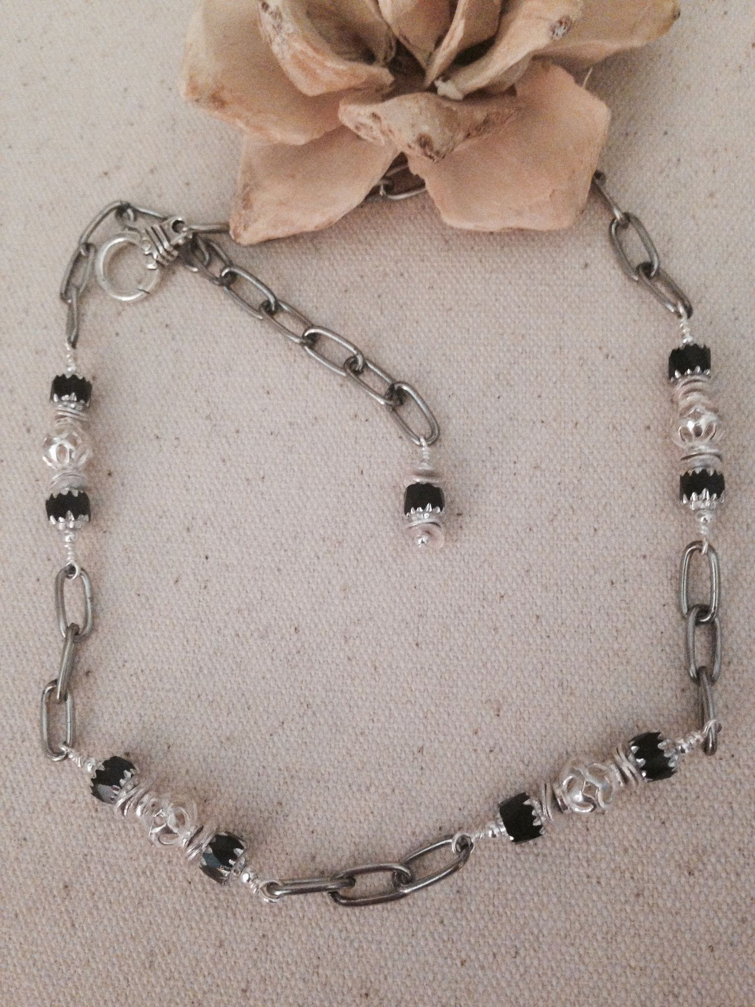 Just A Touch Of Black Pewter Beaded Necklace