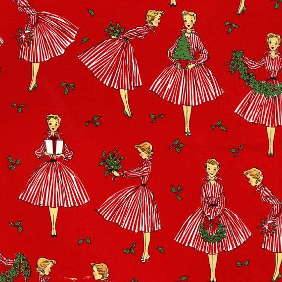 Michael Miller Fabric - Fifties Retro Holiday Hostess - Red ...