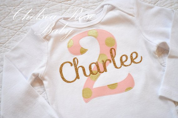 Pink Mint And Gold Birthday Shirt Personalized Outfit Baby First Birthda
