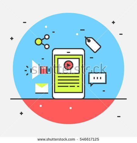 Mobile marketing design, Concept for mobile marketing, mobile commerce, technology flat vector illustration