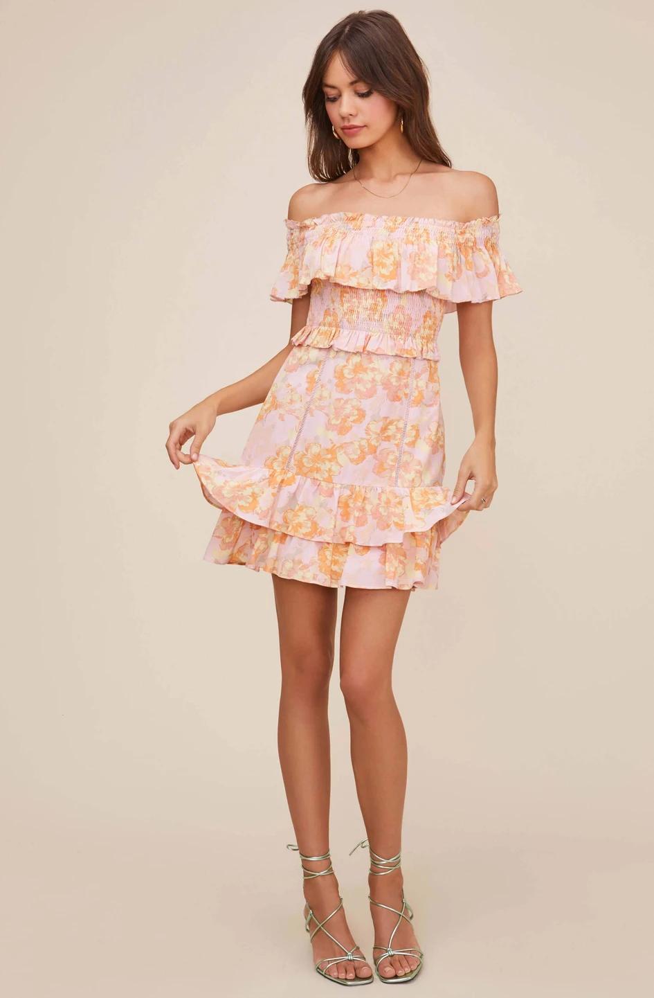Riviera Floral Off Shoulder Dress Off Shoulder Dress Dresses Shoulder Dress [ 1441 x 945 Pixel ]