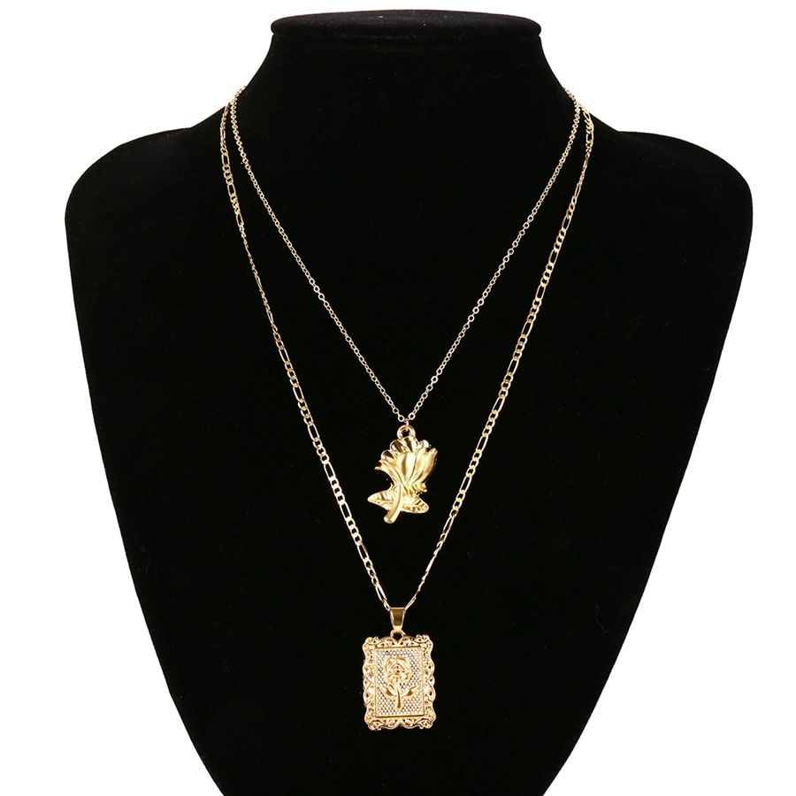 Photo of Layered Chain Choke Flower Square Pendant Necklace – Golden Color