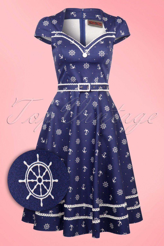 50s Gwyneth Sailor Swing Dress in Blue