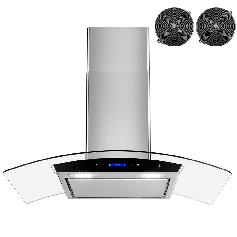 Akdy 36 In Convertible Wall Mount Range Hood In Stainless Steel With Led Lights Touch Control And Carbon Filters Rh0441 The Home Depot Wall Mount Range Hood Range Hood Stainless Steel Panels