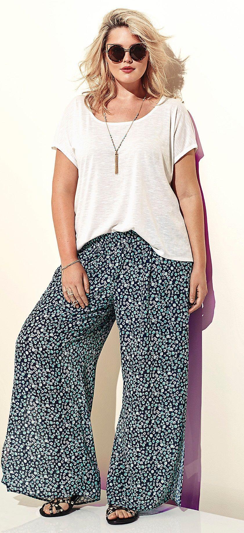 Torrid - Torrid Floral Chiffon Side Slit Wide Pants | Wide pants ...
