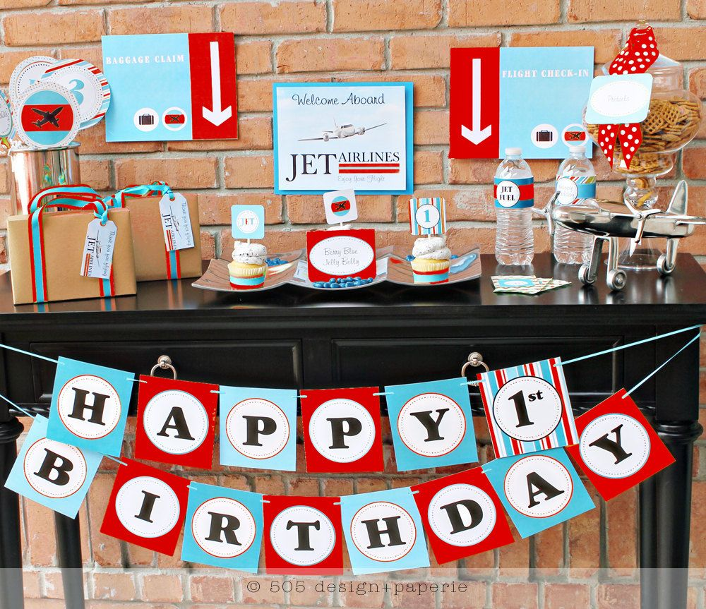 Printable airplane party backdrops party decorations diy template - Airplane Airline Pilot Themed Boy 1st Birthday Party Planning Ideas Pinterest Airplanes Themed Birthday Parties And Birthday Party Ideas