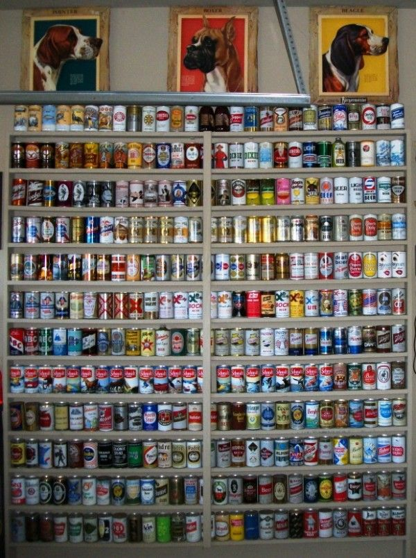 Old Beer Can Displays Google Search Man Cave