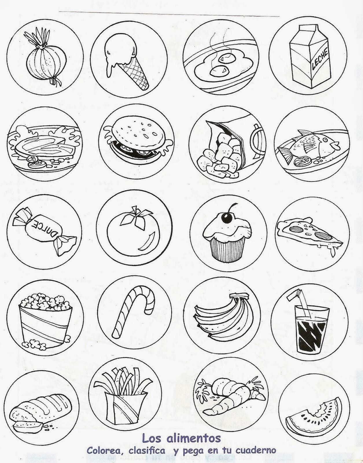 Alimentos saludables y alimentos chatarra para colorear | Alimentos ...