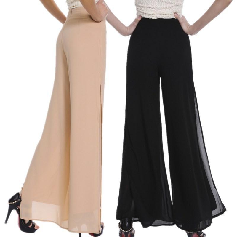 e6d0a57af0dda Women Ladies Vintage Loose High Waist Long Trousers Chiffon Side Split  Casual Palazzo Pants Wide Leg Pants pantalones