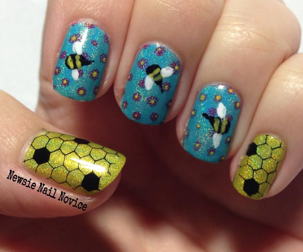 Honey and Bee nails, Winnie the Pooh Nail Challenge, Smitten Polish ...