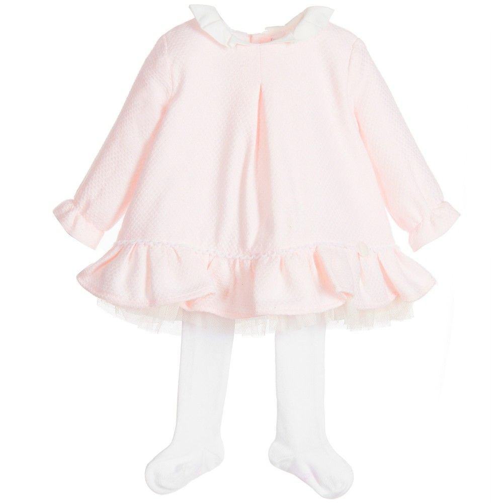 e07a681bd Baby Girls Pink Woven Dress   White Tights Set