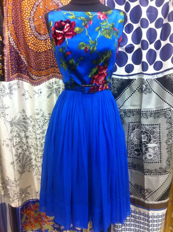 1960's Royal Blue Satin and Chiffon Party Dress by AntiqueSugar, $125.00