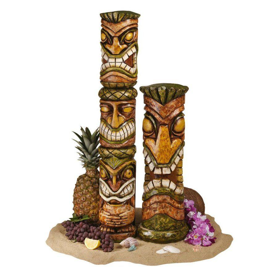Shop Design Toscano Set Of 2 Aloha Hawaii Tikis Garden Statues At Lowes.com