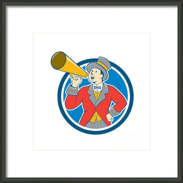 Circus Ringmaster Bullhorn Circle Cartoon Framed Print By Aloysius Patrimonio