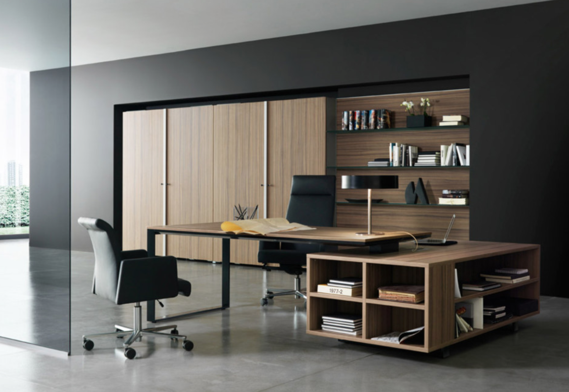 modern design luxury office table executive desk. Amazing And Cool Modern Office Room Design Interior With Executive Desks Home Black Arm Chair Large Wooden Shelf Cabinet Luxury Table Desk