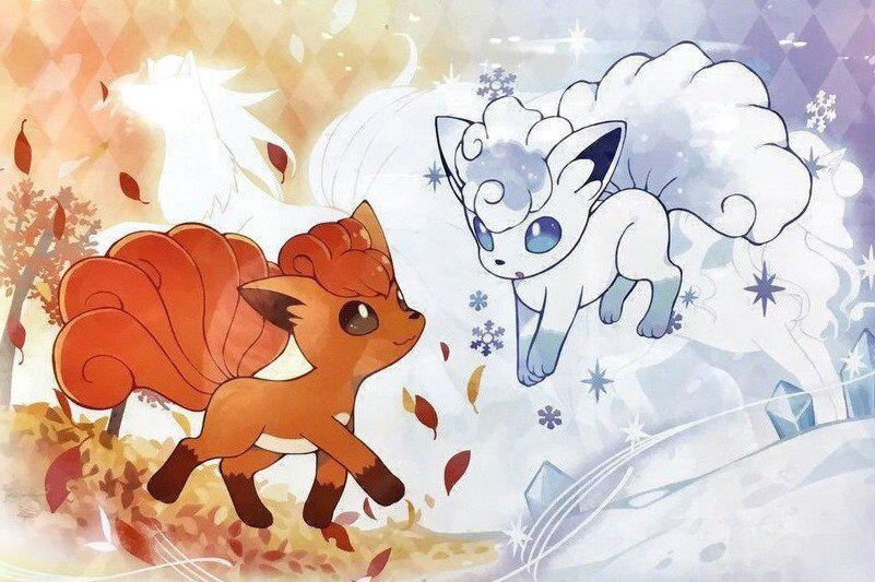Animefanart Pokemon Vulpix De Kanto Y Vulpix De Alola Anime Amino Pokemon Alola Pokemon Alolan Vulpix