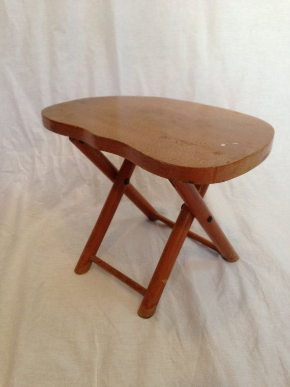 Vintage 1950s Wooden Folding Stool By Nevco Fold N Carry