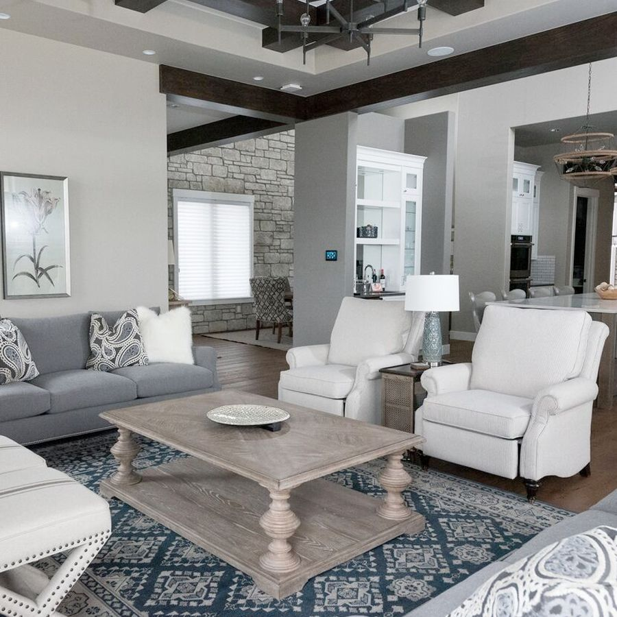 Elegant Farmhouse Great Room Residential Interior Design