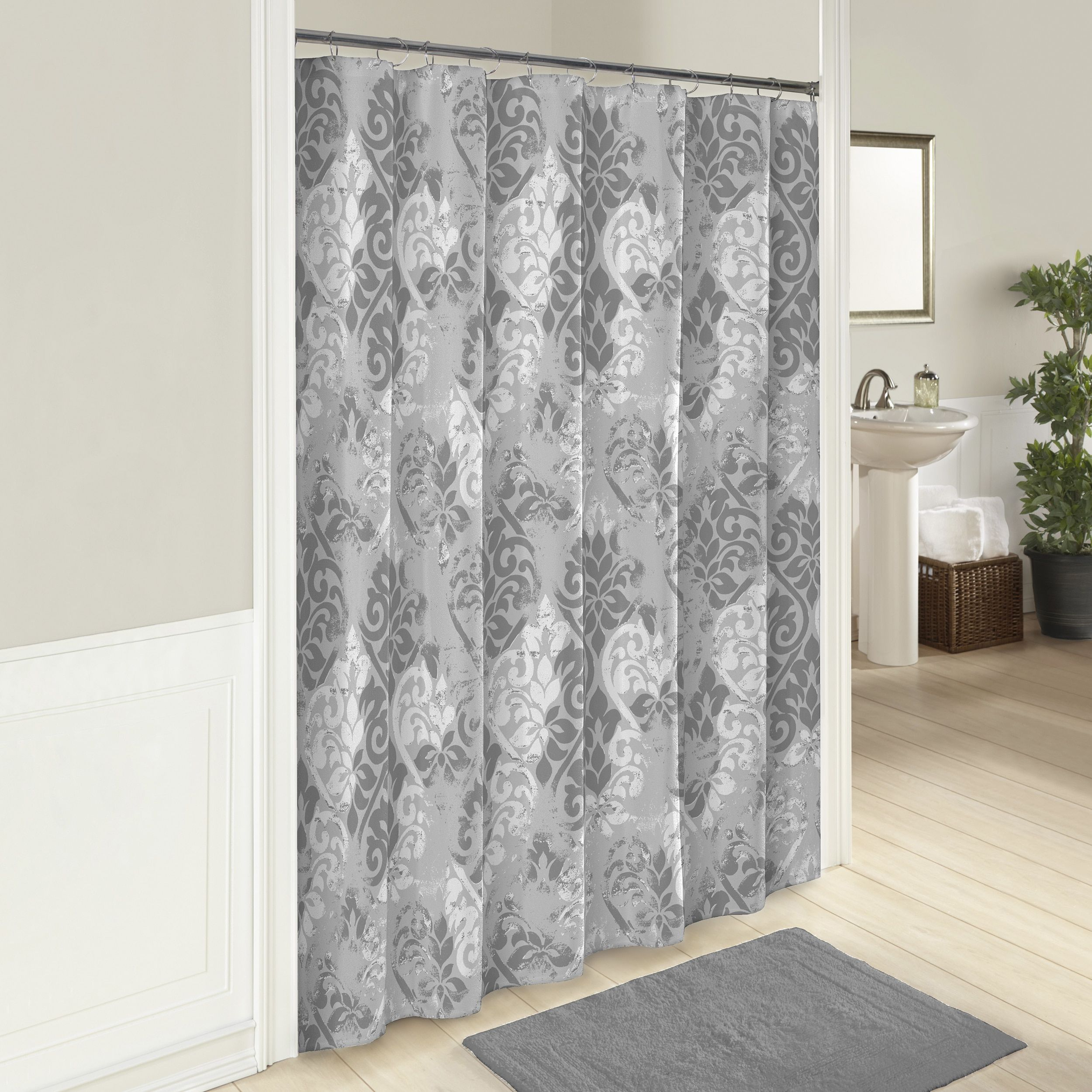 Marble hill cheyanne shower curtain inch multi grey marbles
