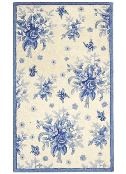Toile Rose Wool Hand Hooked Area Rug