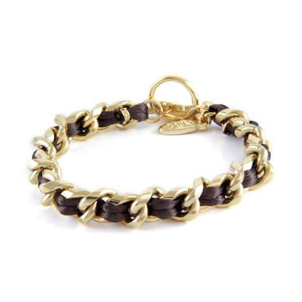 Ettika :: Materials :: Satin :: Brown Satin Cord Intertwined Chain Bracelet with Toggle Closure