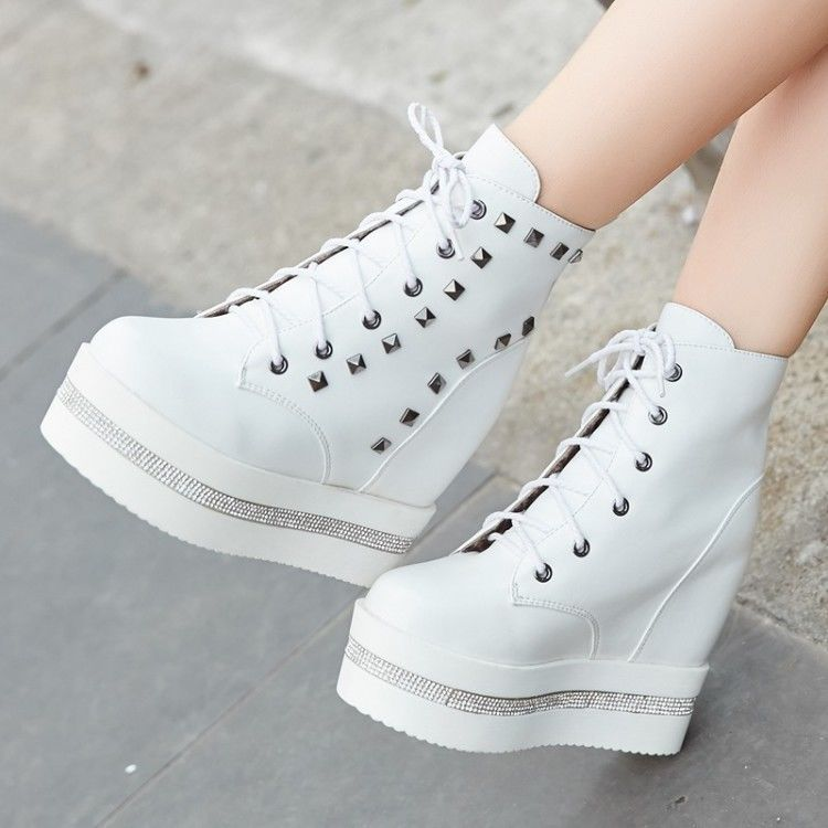 Women's Fashion Platform Hidden Wedge Heel Lace up Ankle Boots