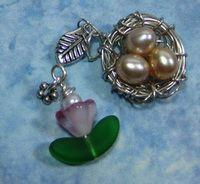 Tulip & Bird nest charms w/ fresh water pearl eggs  artfulinterludes.blogspot.com